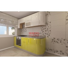 Прямая кухня «постформинг» с радиусными фасадами